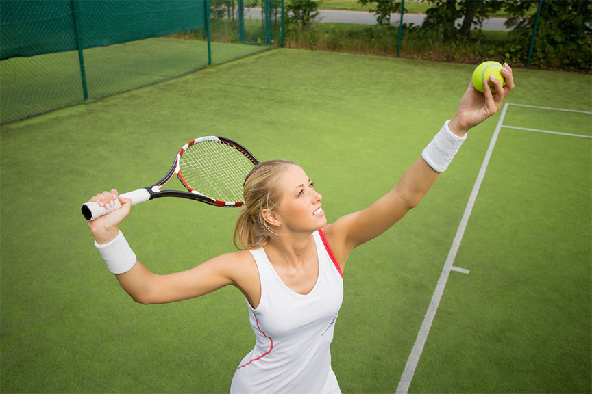 Lady Playing Tennis Serving